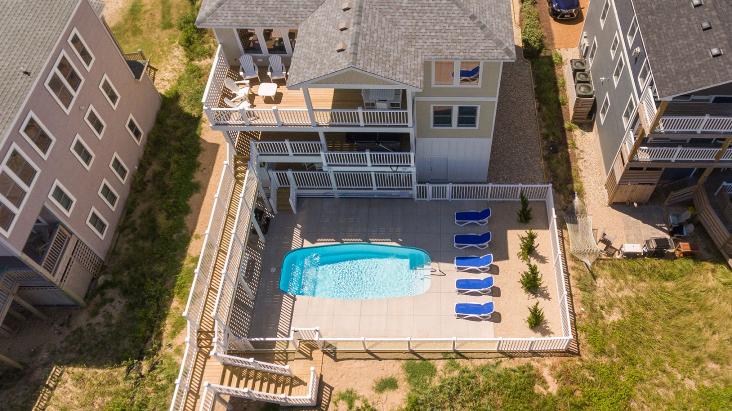 Custom Home in Duck, NC with pool and beach acccess walkway